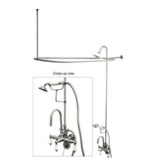 Vintage Shower andTub Faucet Set with Porcelain Lever Handles