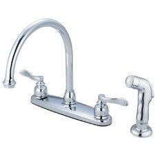 NuWave French Double Handle Centerset Kitchen Faucet with Matching Sprayer