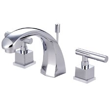 Claremont Double Handle Deck Mount Widespread Bathroom Faucet with Brass Pop-Up