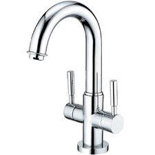 Concord Double Handle Deck Mount Bathroom Faucet with Push Pop-Up and Plate
