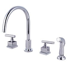 <strong>Elements of Design</strong> Claremont Double Handle Widespread Kitchen Faucet with Plastic Sprayer