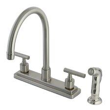 Manhattan Double Handle Kitchen Faucet with Non-Metallic Sprayer