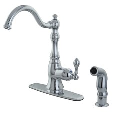 American Classic Single Handle Kitchen Faucet with Sprayer and Deck Plate