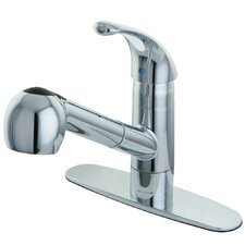 <strong>Elements of Design</strong> Century Single Handle Pull Out Kitchen Faucet with Deck Plate