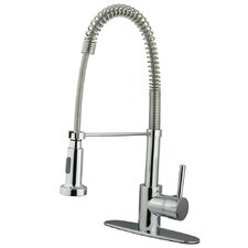 <strong>Elements of Design</strong> Concord Single Handle Pull Down Lead Free Kitchen Faucet with Deck Plate