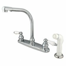 Victorian Double Handle Centerset High Arch Kitchen Faucet with Porcelain Lever Handles and Plastic Side Spray