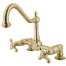 Heritage Deck Mount Double Handle Centerset Bridge Kitchen Faucet with Metal Cross Handles