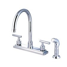 <strong>Elements of Design</strong> Sydney Double Handle Centerset Kitchen Faucet with Non-Metallic Sprayer