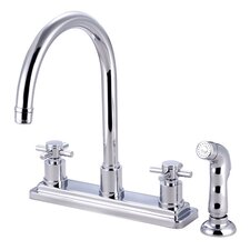 <strong>Elements of Design</strong> South Beach Double Cross Handle Kitchen Faucet with Non-Metallic Sprayer
