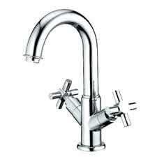South Beach Double Cross Handle Bathroom Faucet with Push-Up Pop-Up and Plate