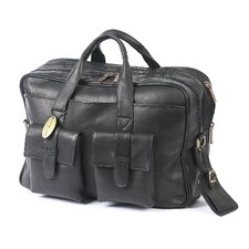 <strong>Claire Chase</strong> Platinum Leather Laptop Briefcase