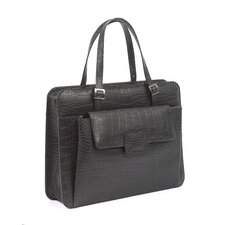 Chantilly Crocodile Embossed Leather Laptop Briefcase