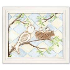 Birds Bunnies Birdie Diamond Giclee Framed Art
