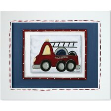 Transportation Fire Truck Framed Giclee Wall Art