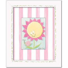 Flowers and Bugs SunnyFlower Framed Giclee - Yellow / Pink Fower with Snail Wall Art