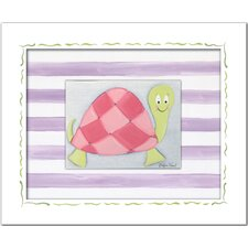 Flowers and Bugs Lilly Turtle Framed Art