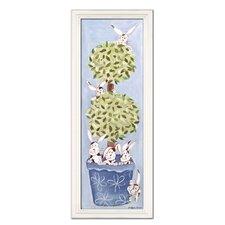 Bunny Topiary Giclee Framed Art