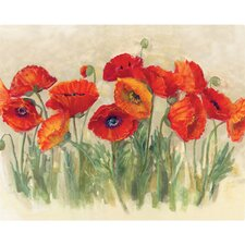 "12"" x 15"" Vibrant Poppies Design Cutting Board"