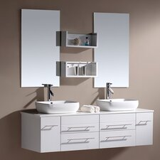 "Augustine 60"" Double Bathroom Vanity Set with Mirror"