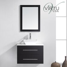 "Ultra Modern 30"" Single Marsala Bathroom Vanity Set with Mirror"