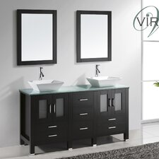 "Bradford 60"" Double Bathroom Vanity Set with Mirror"