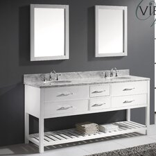 "Caroline Estate 72"" Double Bathroom Vanity Set with Round Sink"