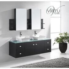 "Ultra Modern 61"" Clarissa  Double Bathroom Vanity Set"