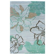 Milan Ivory/Turquoise Floral Area Rug