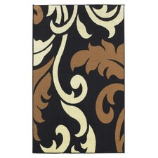 Capri Black Leaf Rug