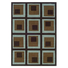 Trio Blocks Chocolate/Spa Blue Rug