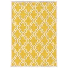 Silhouette Quatrefoil Yellow/Ivory Area Rug