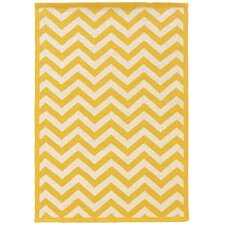 Silhouette Chevron Yellow & Ivory Area Rug