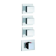 Brick Chic Built-In Thermostatic Valve Trim with Three Volume Control Handles