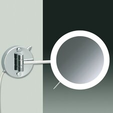 "7.9"" Wall Mount 3X Magnifying LED Round Mirror with One Arm Direct Wired"