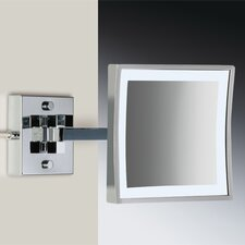 Wall Mounted 3X Magnifying LED Mirror with Direct Wired One Arm and Switch