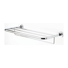 Luna Bath Towel Shelf with Towel Bar in Chrome