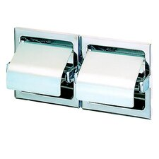 Standard Hotel Double Recessed Toilet Paper Holder with Cover in Stainless Steel