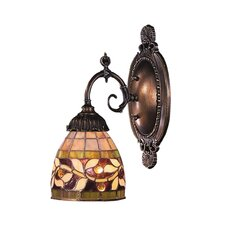 Mix-N-Match 1 Light Wall Sconce with Leaves Design Glass Shade