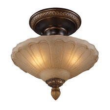 <strong>Landmark Lighting</strong> Restoration 3 Light Glass Semi Flush Mount