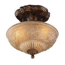 "<strong>Landmark Lighting</strong> 10"" Restoration 3 Light Semi Flush Mount"
