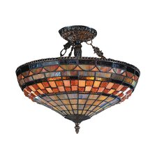<strong>Landmark Lighting</strong> Jewelstone 3 Light Semi Flush Mount