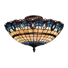 <strong>Landmark Lighting</strong> Victorian Ribbon 3 Light Semi Flush Mount