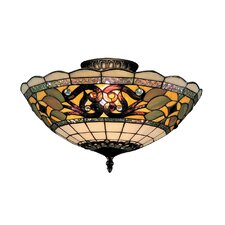 "8"" Tiffany Buckingham 3 Light Semi Flush Mount"