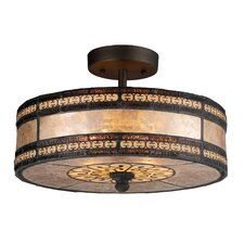 Mica Filigree 2 Light Drum Semi Flush Mount