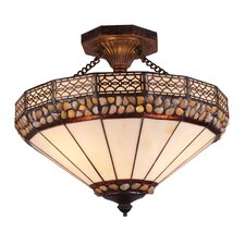 Stone Filigree 3 Light Semi Flush Mount