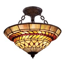 Glass Leaf 3 Light Semi Flush Mount