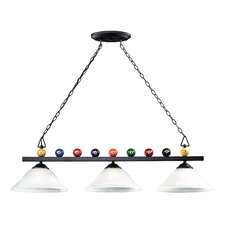 <strong>Landmark Lighting</strong> Billiards (Section) 3 Light Pendant with White Faux Alabaster Glass