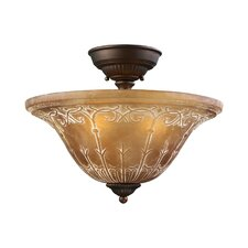 Restoration 3 Light Semi Flush Mount in Aged Bronze