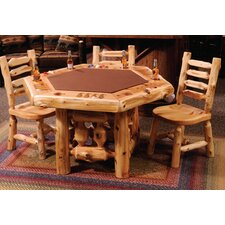 <strong>Fireside Lodge</strong> Cedar Log 6 Sided Poker Table Set