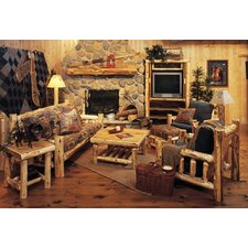 Traditional Cedar Log Coffee Table Set